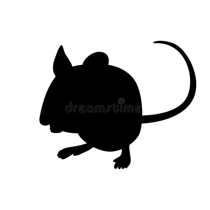 动画片老鼠传染媒介例证黑色剪影 向量例证