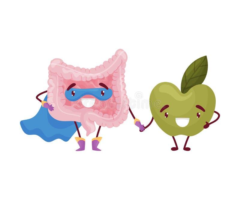 动画片肚腑和苹果举行手 r 皇族释放例证