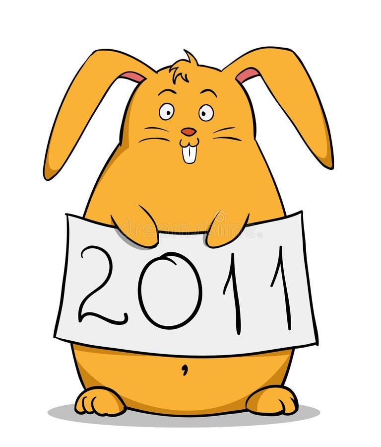 动画片肥胖滑稽的新的海报兔子年 皇族释放例证