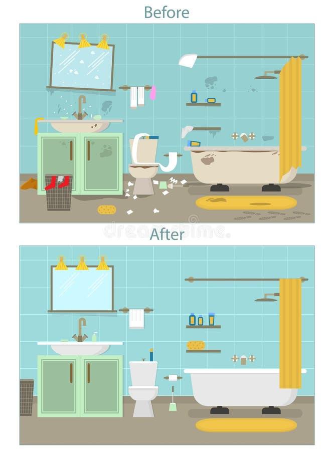 动画片肮脏组织和清洗洁净室服务卡片海报的卫生间 向量 皇族释放例证