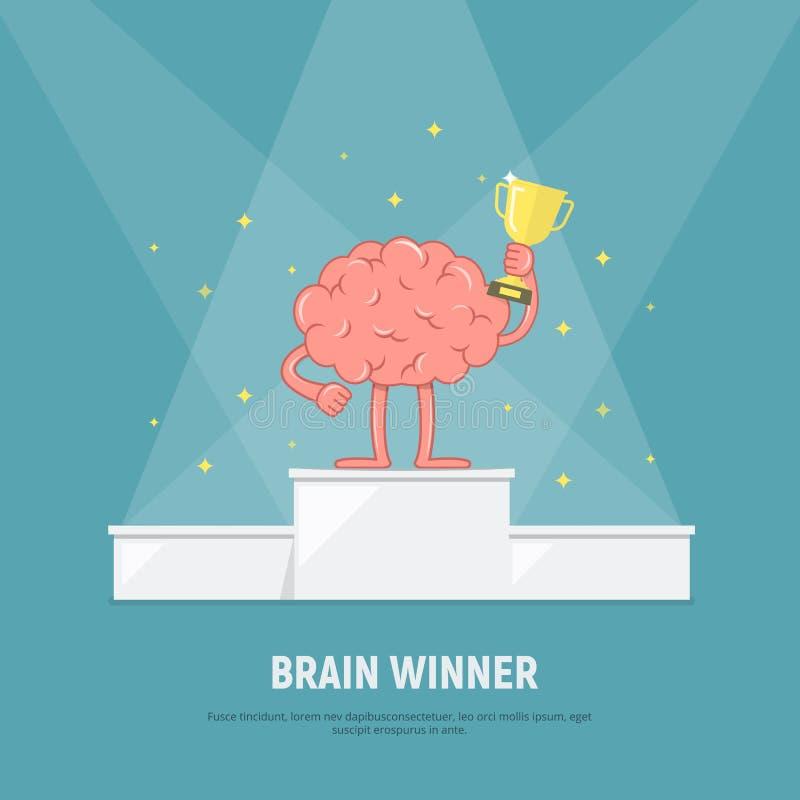 动画片脑子在优胜者指挥台站立 与优胜者杯子的脑子 概念成功 库存例证