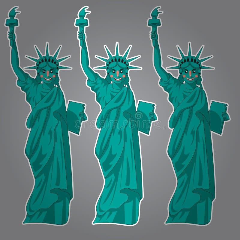 动画片自由女神像 滑稽的地标美国 被传统化的字符美国是标志 向量例证