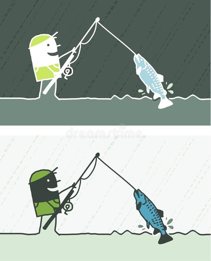 动画片色的捕鱼 向量例证
