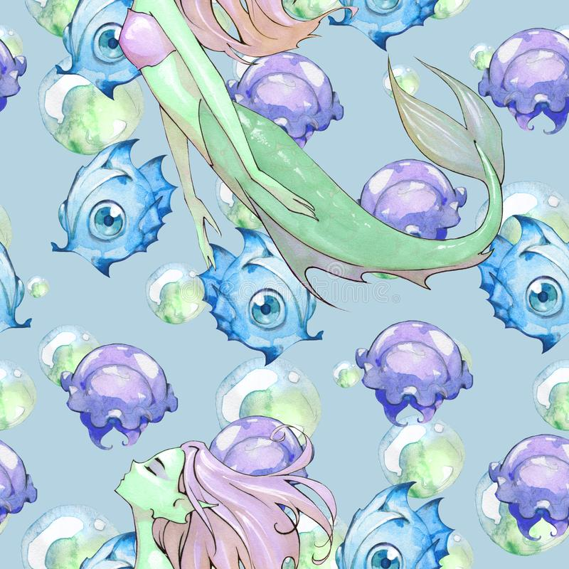 动画片芳香树脂美人鱼的幻想手拉的无缝的例证 向量例证