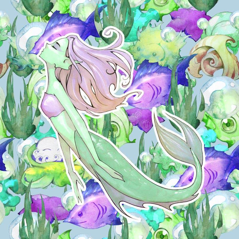 动画片芳香树脂美人鱼的幻想手拉的无缝的例证 库存例证