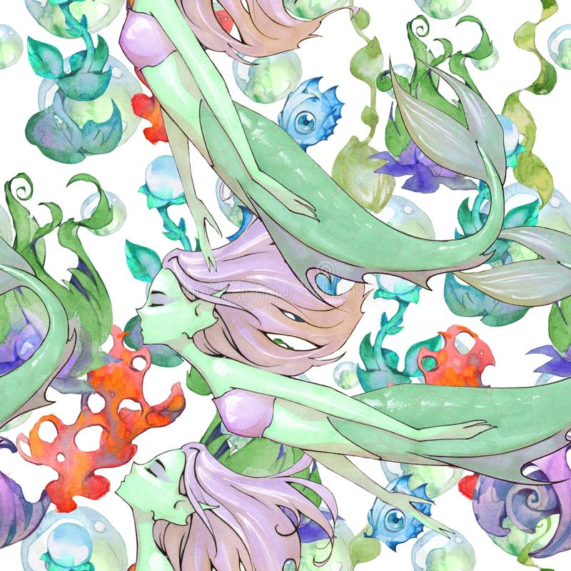 动画片芳香树脂美人鱼的幻想手拉的无缝的例证 皇族释放例证