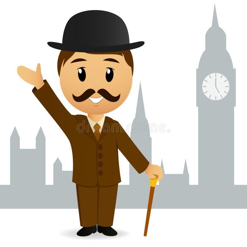 动画片英国绅士问候 库存例证