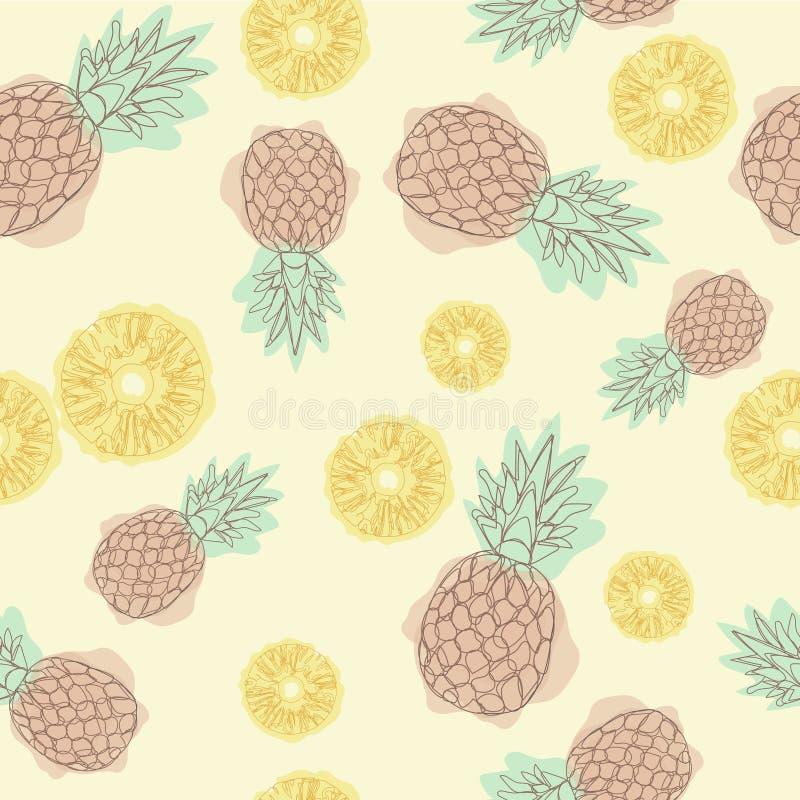 动画片菠萝无缝的样式 继续的线描 无缝的纺织品例证 贺卡和invitatio的设计 库存例证