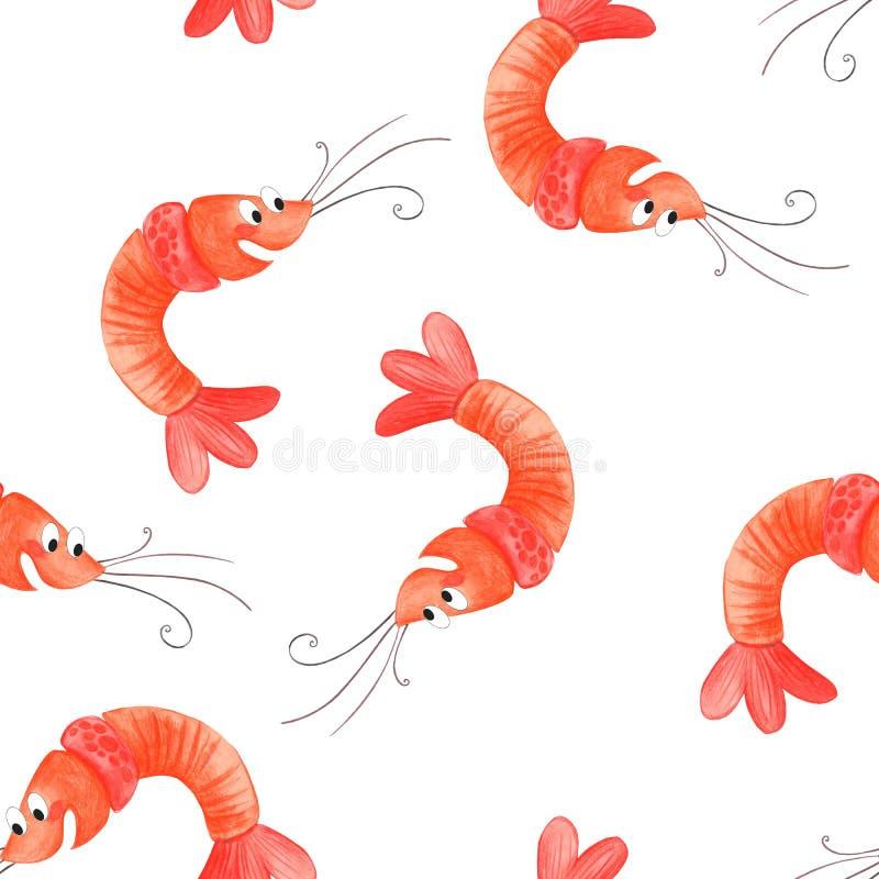 动画片虾 无缝的样式虾,海滩夏天背景动画片例证  库存例证