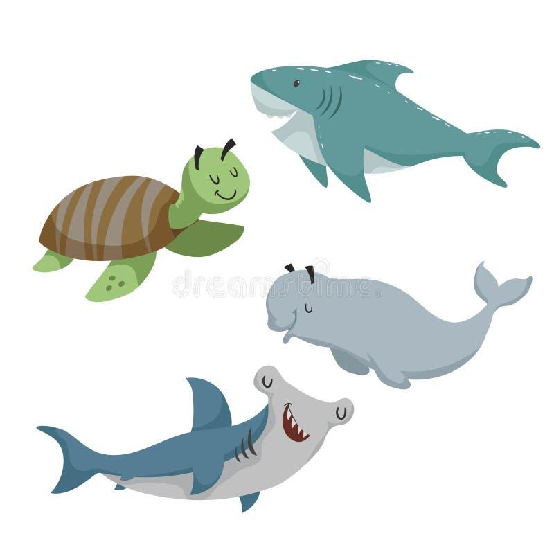 动画片被设置的夏恩动物 海龟,鲨鱼,双髻鲛鱼,白海豚白鲸 海和海洋动物 库存例证