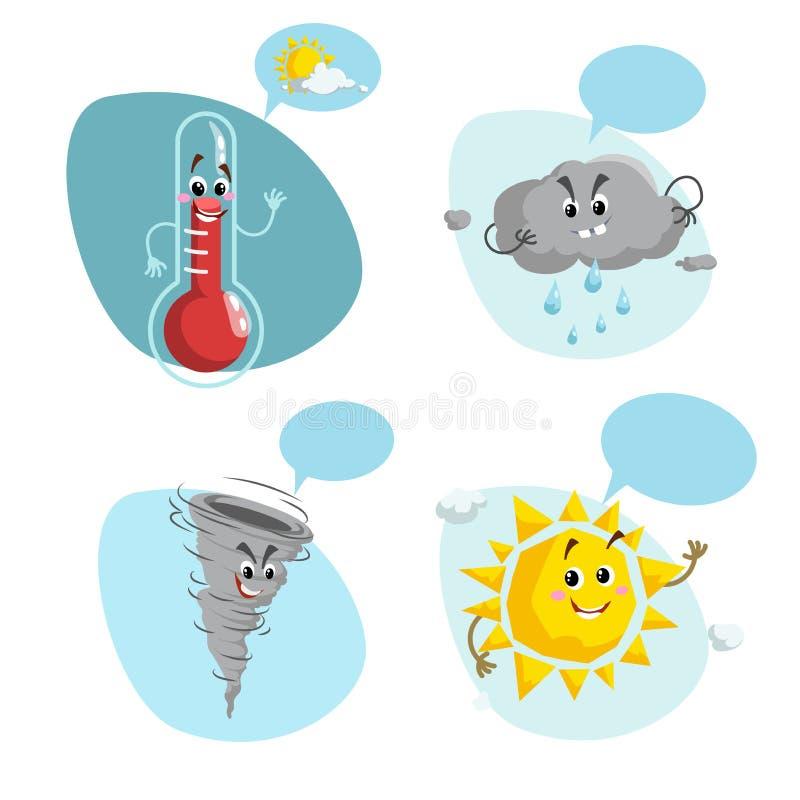 动画片被设置的天气字符 友好的太阳、雨珠云彩、微笑的温度计吉祥人和滑稽的龙卷风 与太阳的讲话泡影 向量例证