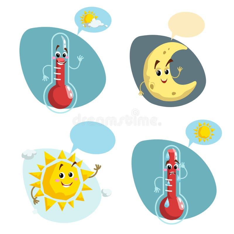 动画片被设置的天气字符 友好的太阳、微笑的温度计吉祥人舒适气候、新月形月亮和温暖的温度symbo 皇族释放例证
