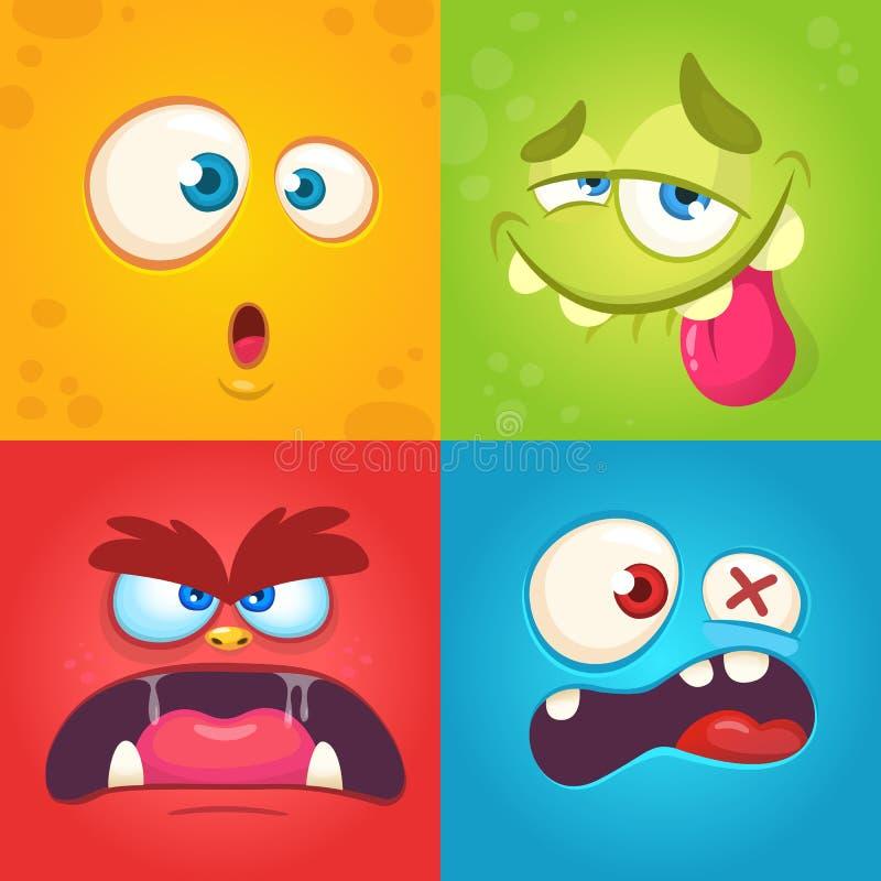 动画片被设置的妖怪面孔 传染媒介套用不同的表示的四张万圣夜妖怪面孔 儿童图书例证 库存图片