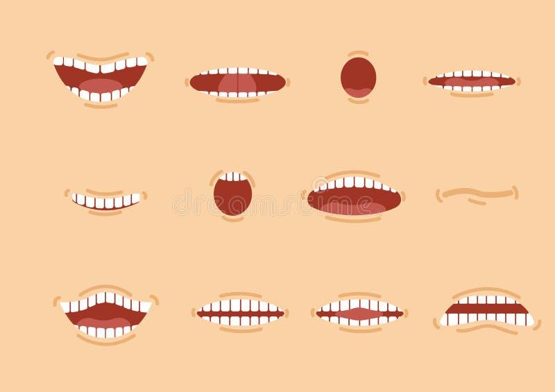 动画片被设置的肤色嘴 微笑 滑稽的动画片嘴设置用不同的表示 微笑与牙,伸出舌头, s 库存例证