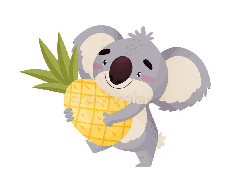 动画片被赋予人性的考拉用菠萝 r 向量例证