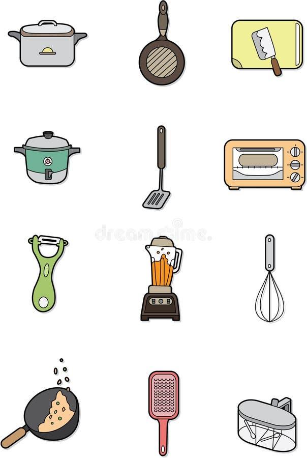 动画片要素厨房 库存例证