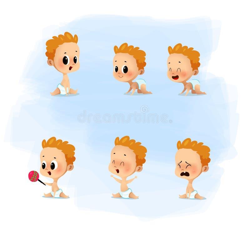 动画片设置与尿布的逗人喜爱的矮小的婴孩 库存例证