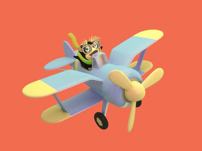 动画片试验企鹅控制一架滑稽的蓝色飞机 库存例证