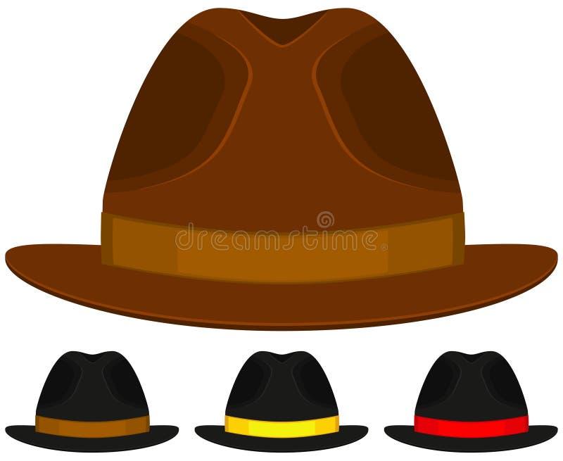 动画片象海报人父亲爸爸天帽子盖帽五颜六色的集合 库存例证