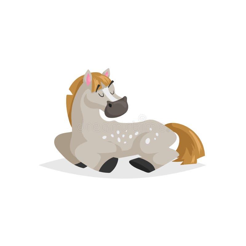 动画片起斑纹灰色马睡眠 与简单的梯度牲口休息孩子教育传染媒介例证的时髦平的设计 库存例证