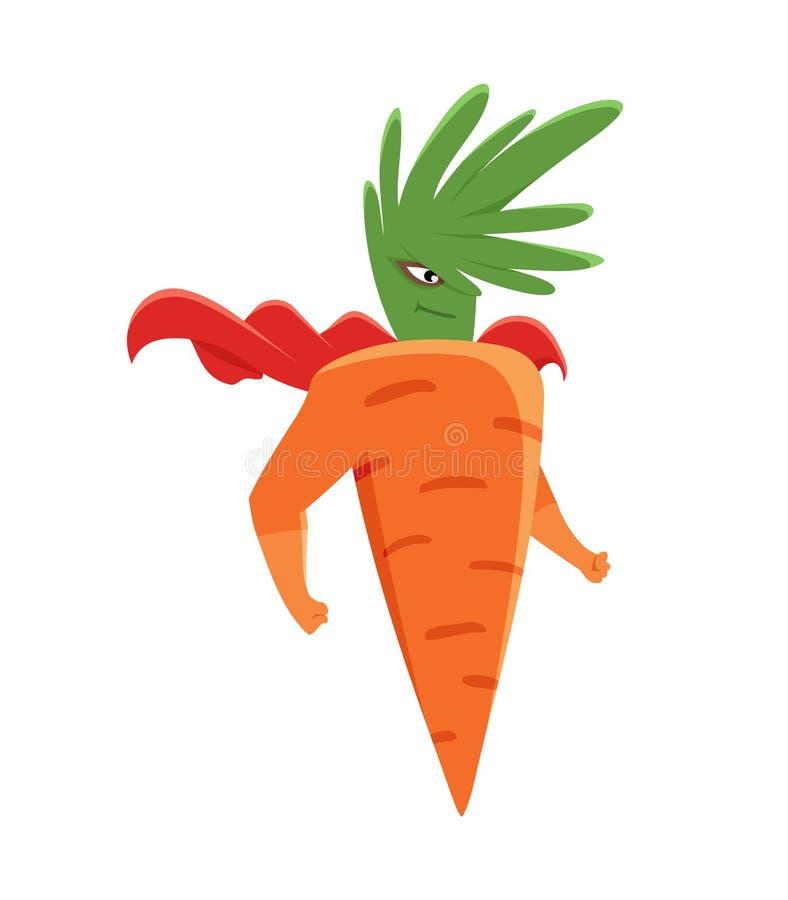 动画片超级英雄红萝卜与胳膊的字符身分在漫画服装 库存例证