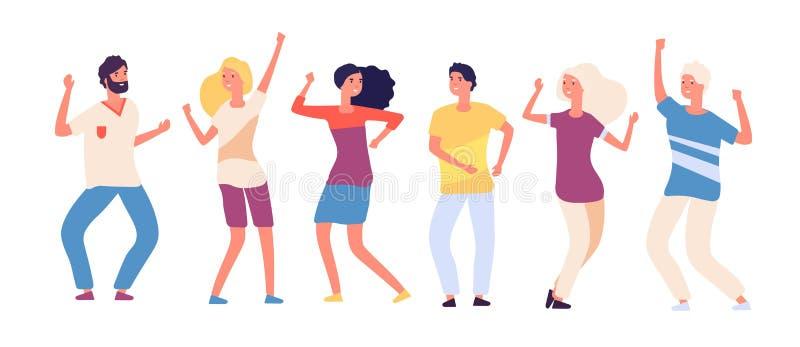 动画片跳舞的人民 愉快的年轻人跳舞,快乐的妇女和人舞蹈家 在被隔绝的俱乐部的党人群 向量例证