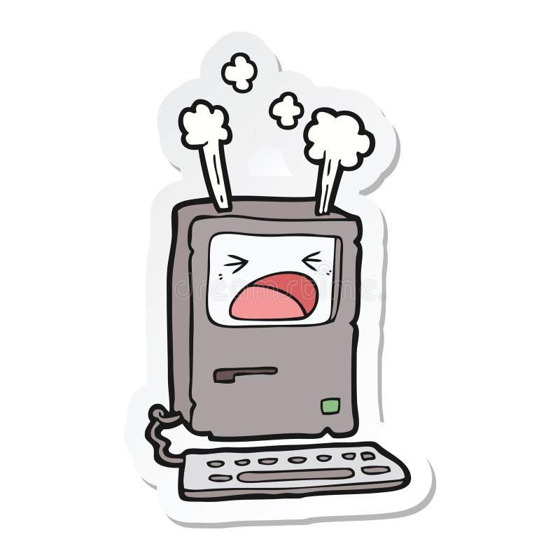 动画片过度加热的计算机的贴纸 皇族释放例证