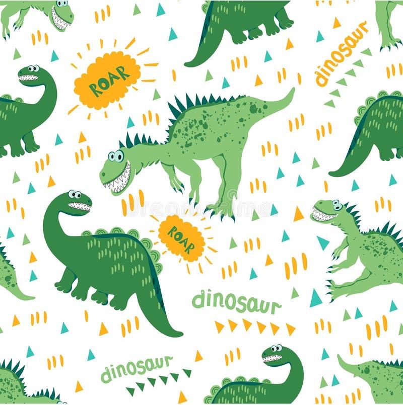 动画片迪诺享受步行和一好温暖的天 无缝恐龙的模式 对儿童的时尚,儿童的衣物设计,f 向量例证