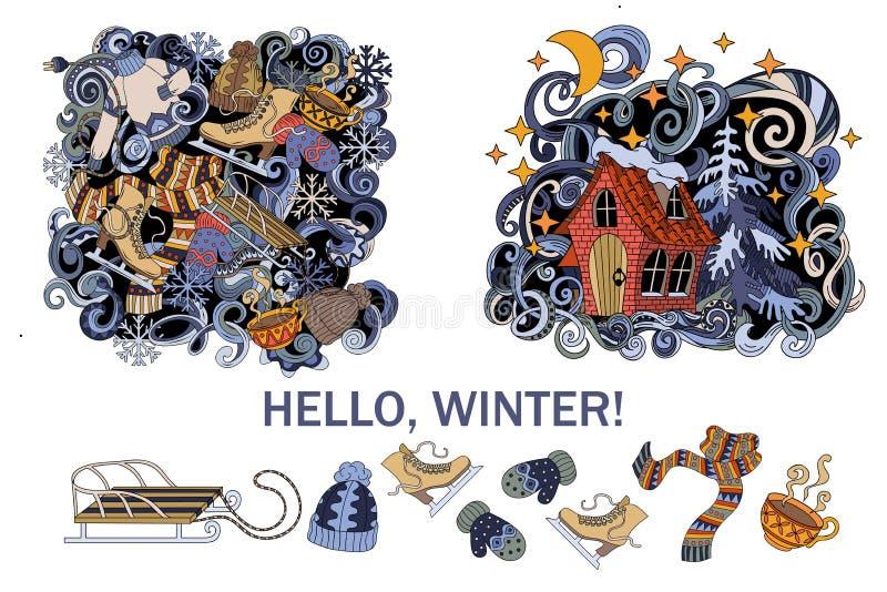 动画片逗人喜爱的乱画手拉的冬天季节框架设计 五颜六色详细,与许多对象背景,传染媒介 皇族释放例证