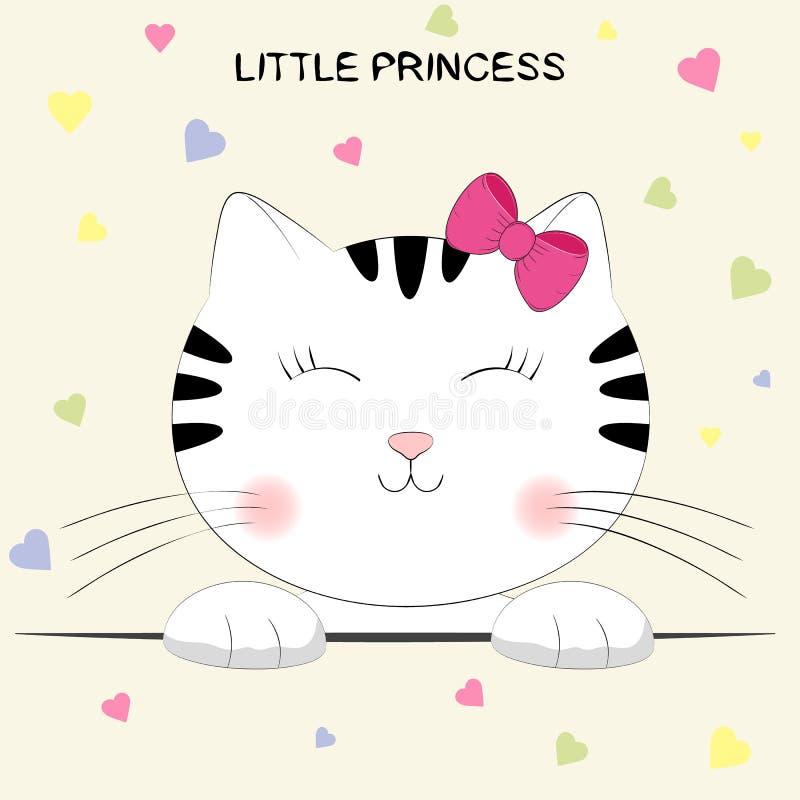 动画片逗人喜爱的全部赌注 猫头与在小公主上写字的 向量例证