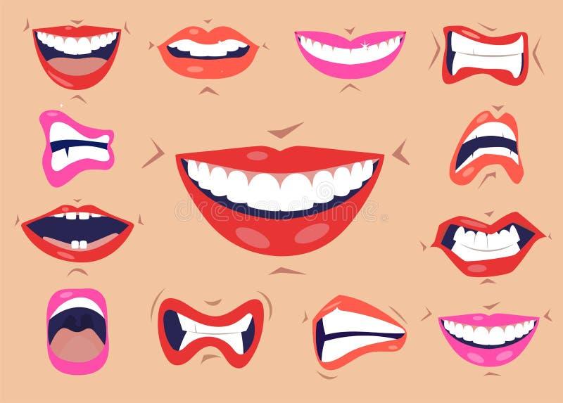 动画片逗人喜爱的嘴表示面部姿态设置与微笑噘嘴的嘴唇伸出舌头被隔绝的传染媒介 皇族释放例证