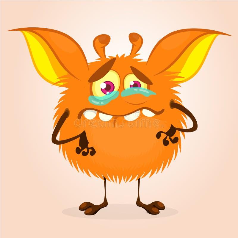 动画片逗人喜爱的妖怪 导航在微小的腿和大耳朵的毛茸的橙色妖怪字符 万圣夜设计 向量例证