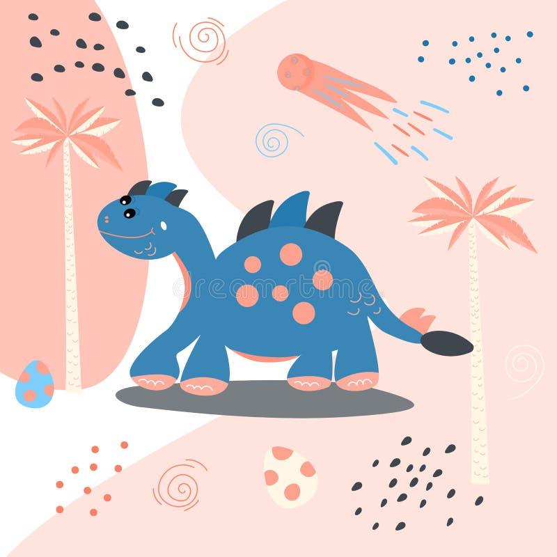 动画片逗人喜爱的恐龙 儿童的T恤杉的,毛线衣印刷品 2007个看板卡招呼的新年好 贴纸传染媒介例证 向量例证