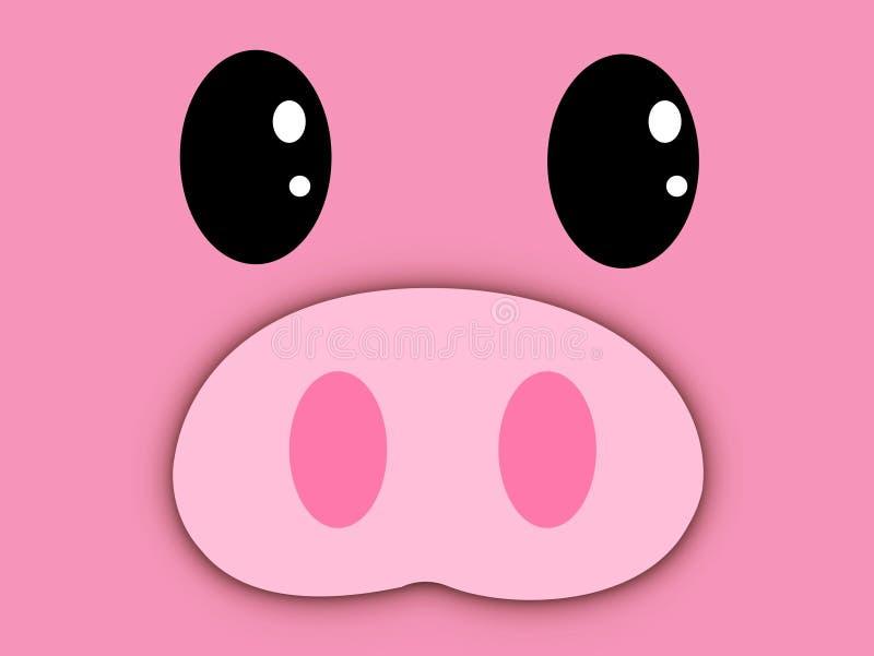 动画片逗人喜爱的桃红色面孔的样式例证 免版税库存图片