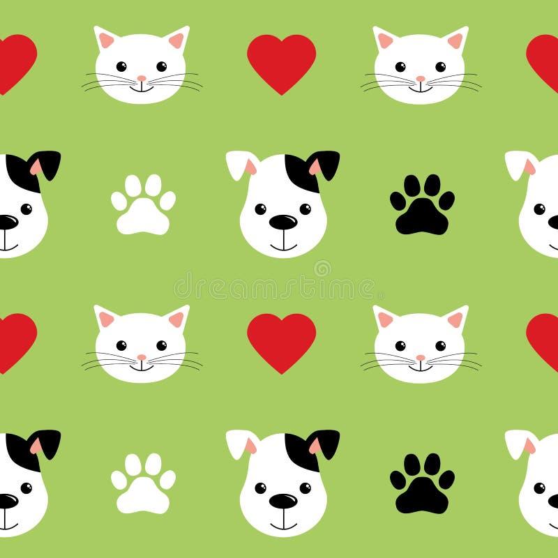 动画片逗人喜爱的猫和狗导航无缝的样式 好为背景、墙纸、盖子、纺织品和卡片孩子的 库存例证