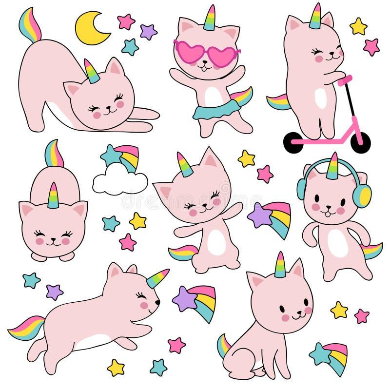 动画片逗人喜爱的白色猫独角兽 滑稽的caticorn小猫传染媒介集合 库存例证