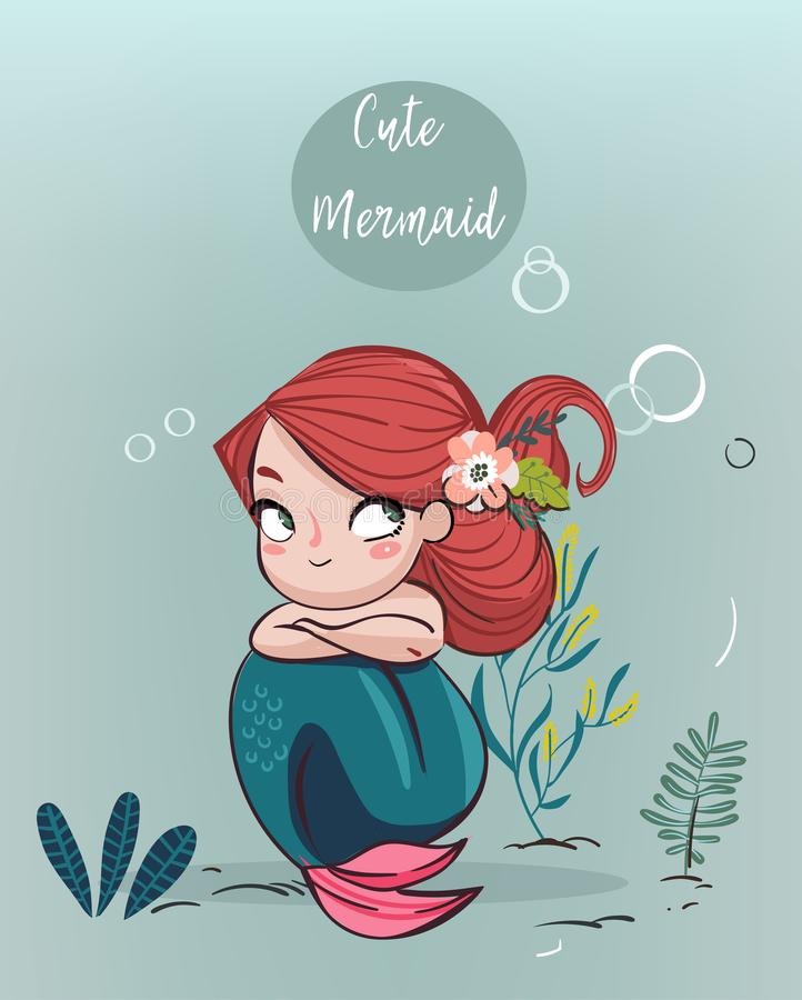 动画片逗人喜爱的美人鱼 库存例证