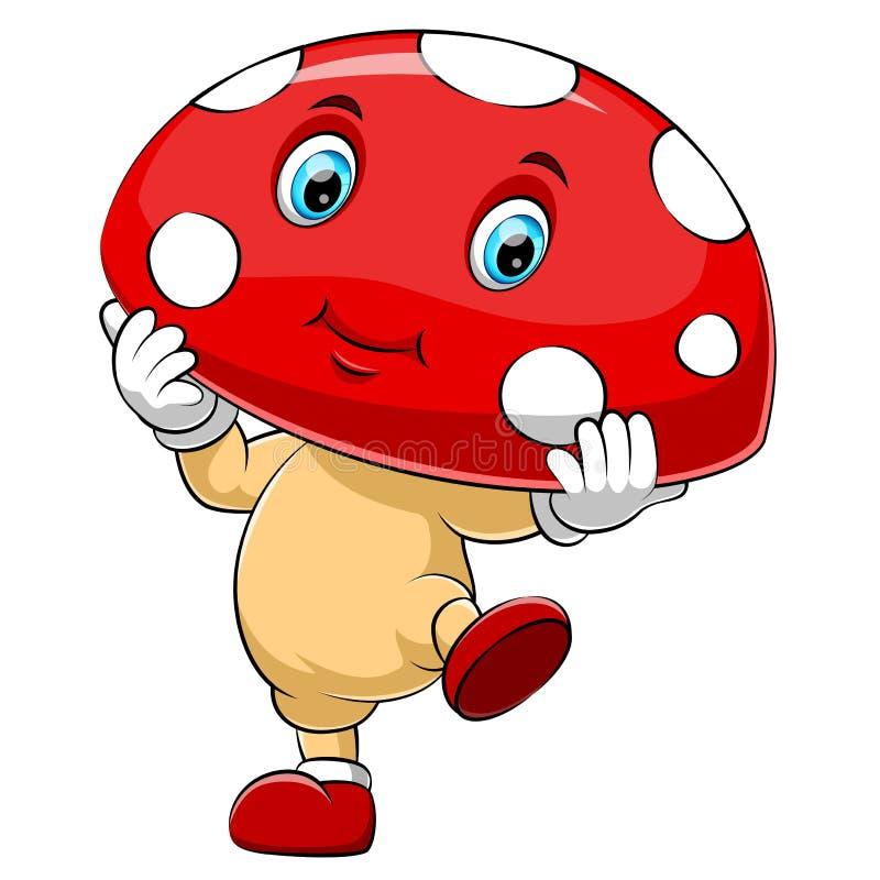 动画片逗人喜爱的蘑菇字符 向量例证