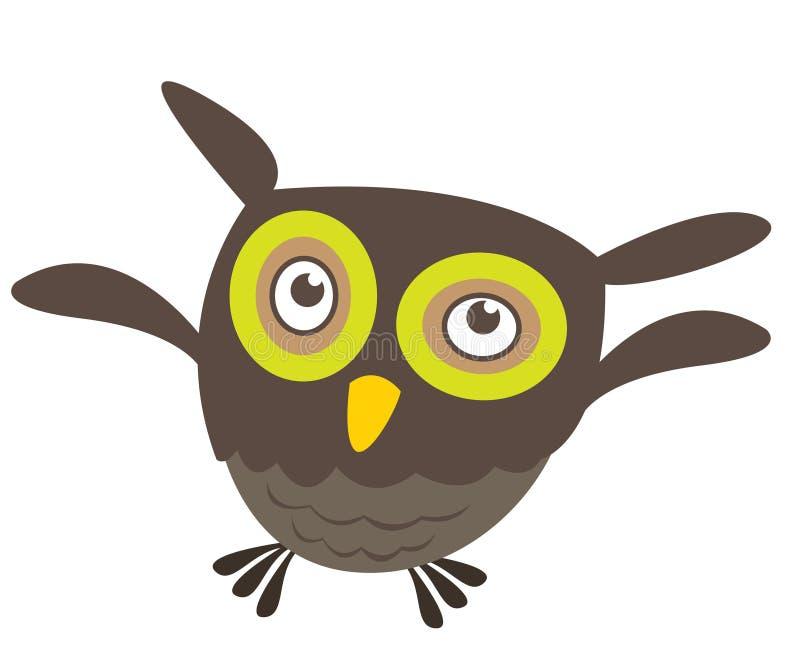 动画片逗人喜爱的飞行猫头鹰 皇族释放例证