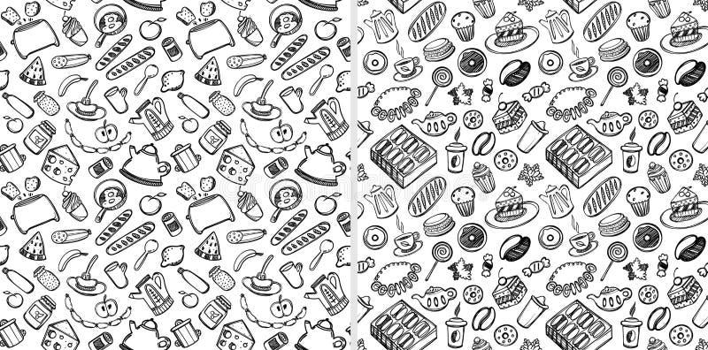 动画片逗人喜爱的食物和厨具在白色背景 无缝的模式 线性例证 对zentangle书 向量例证