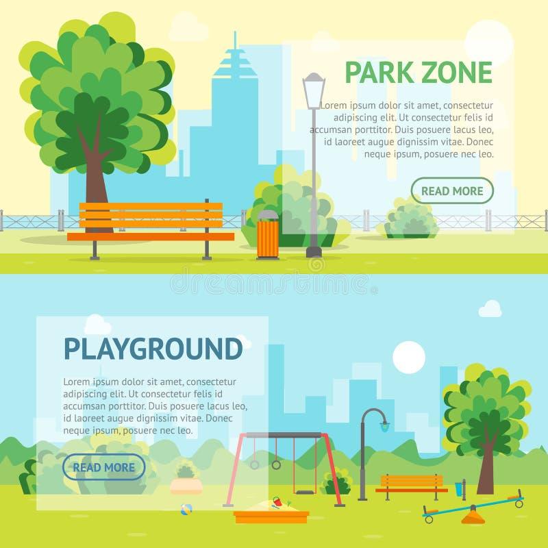 动画片都市公园和孩子操场横幅卡片 向量 向量例证