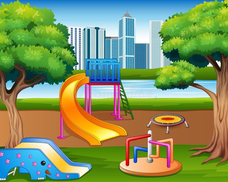 动画片都市公园孩子操场在自然背景中 皇族释放例证