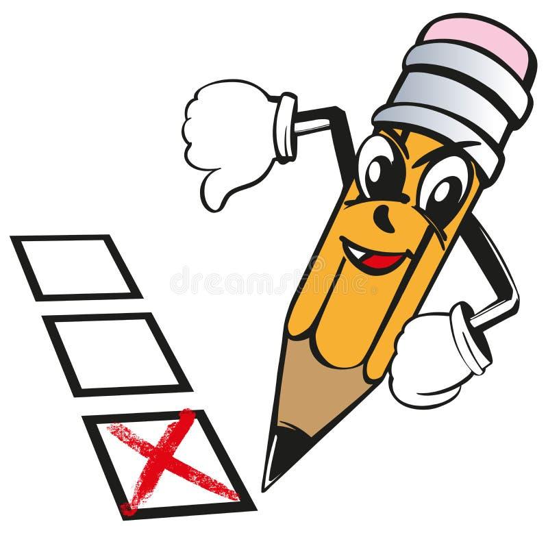 动画片铅笔没有表达情感反感,十字架,投票,测试,检查传染媒介例证剪影 库存例证