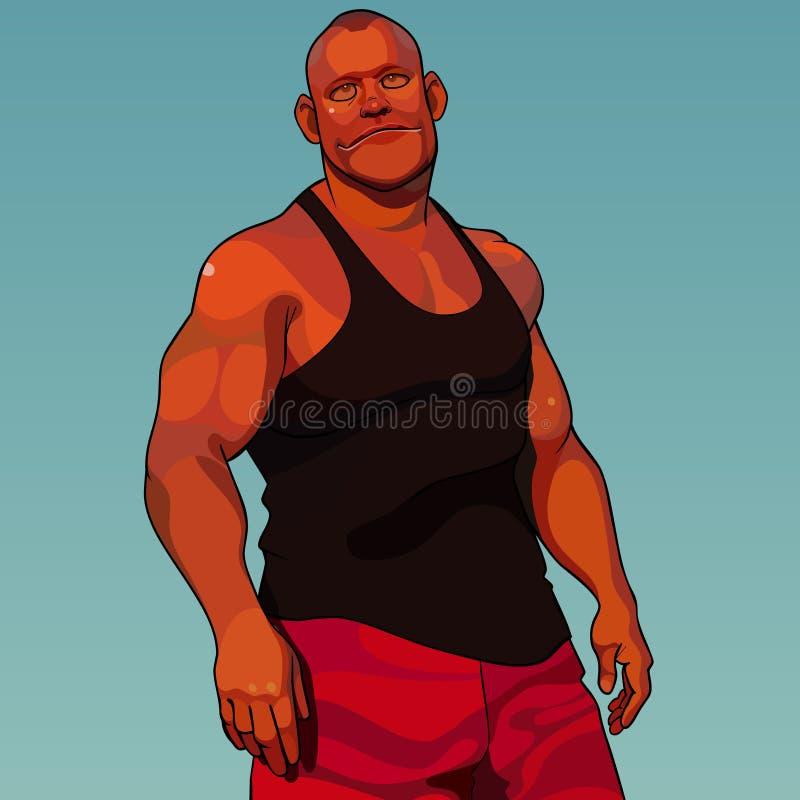 动画片镇静健壮的肌肉人在体育衣裳穿戴了 向量例证
