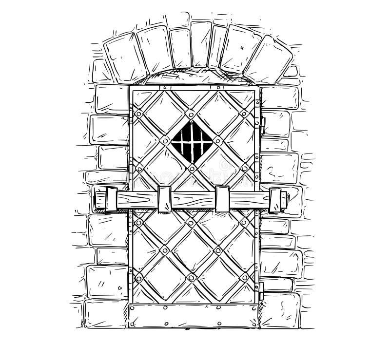 动画片门闩关闭的木中世纪门传染媒介图画  库存例证
