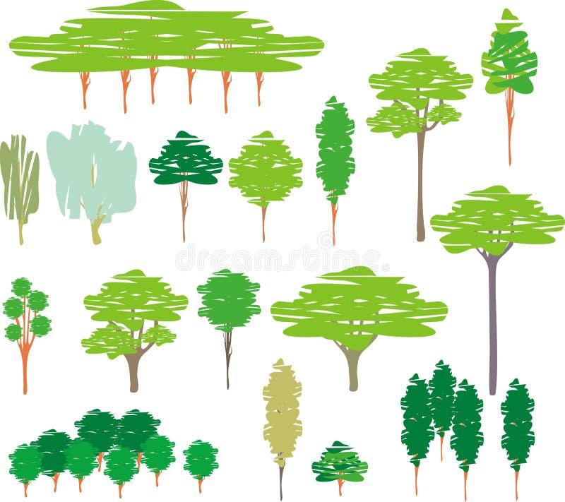 动画片集合剪影结构树 向量例证