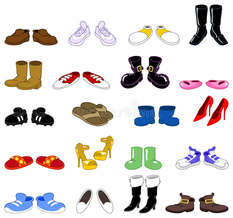 动画片集合鞋子 向量例证