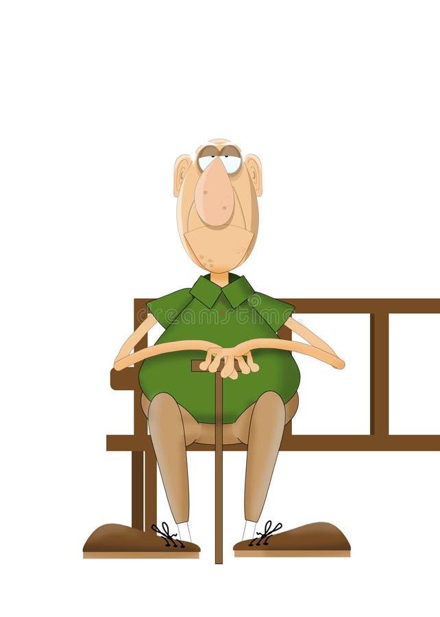 动画片非常老人坐的等待在公园长椅 库存图片