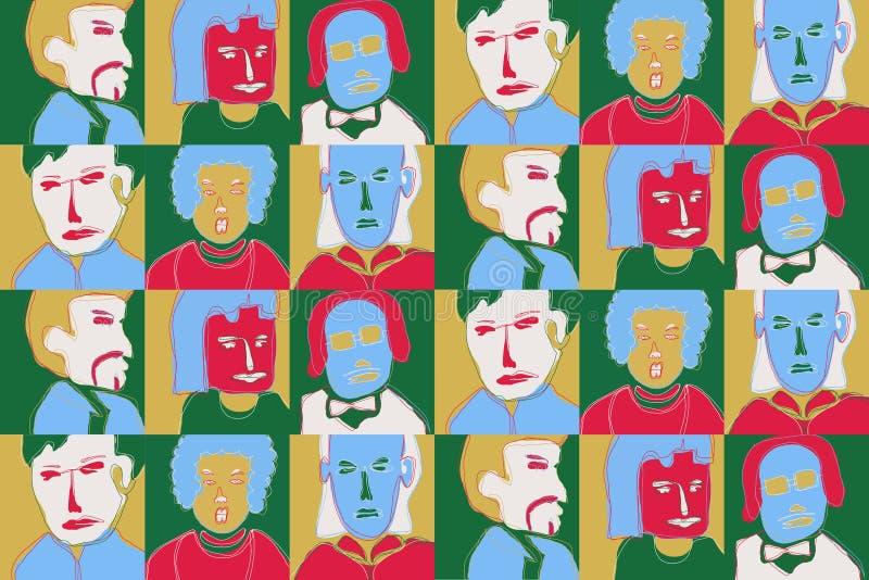 动画片面孔样式 五颜六色的重复的背景 向量例证