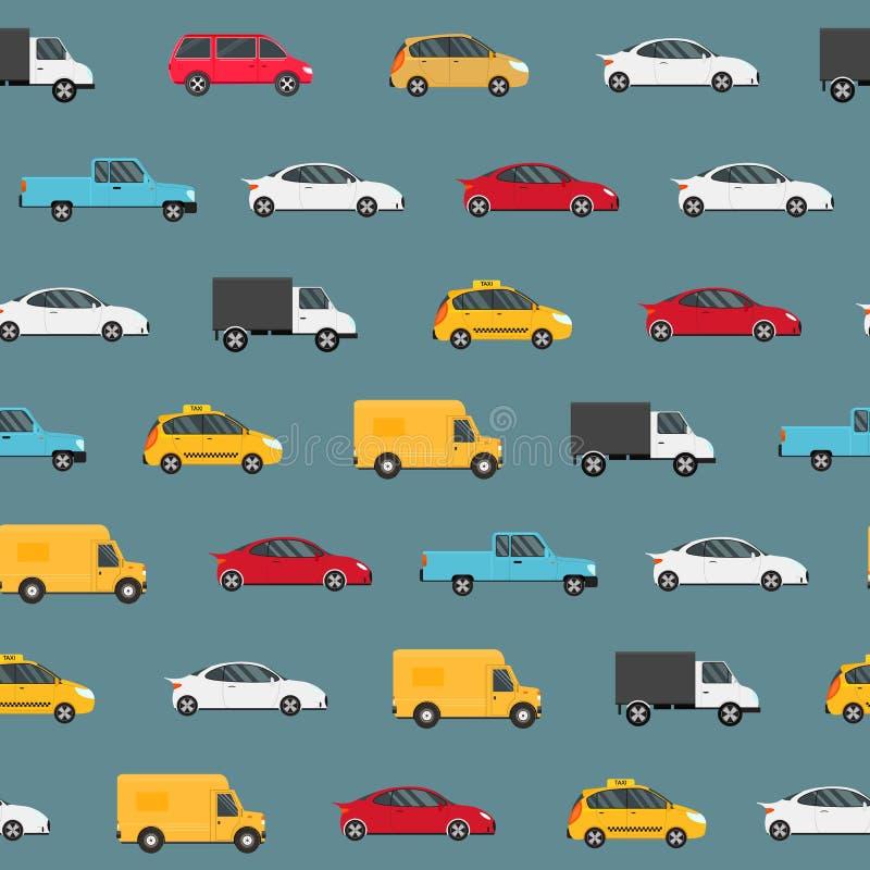 动画片颜色现代汽车无缝的样式背景 ?? 皇族释放例证